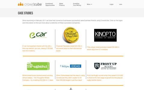 Screenshot of Case Studies Page crowdcube.com - Case Studies > raised business finance : Crowdcube - Crowdcube | Crowdfunding business finance from angel investors and 'Armchair Dragons' - captured Sept. 18, 2014