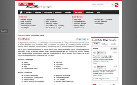 Screenshot of Case Studies Page rigelnetworks.com - Rigel Networks, a leader in End to End IT Services, Software Application Development,  provides  Custom Software Development, Offshore Software Product Development, jewelry software, retail application, mortgage application, hospitality-hotel applica - captured Oct. 26, 2014