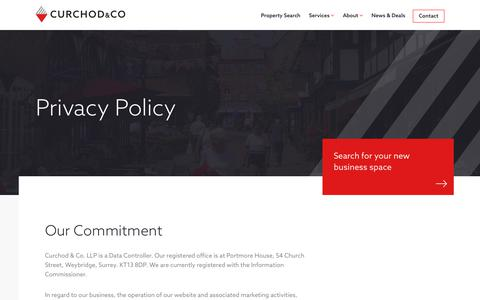 Screenshot of Privacy Page curchodandco.com - Privacy Policy   Curchod & Co. - captured Sept. 29, 2018