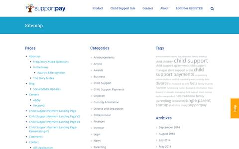 Screenshot of Site Map Page supportpay.com - SupportPay | Sitemap - SupportPay - captured Sept. 11, 2014