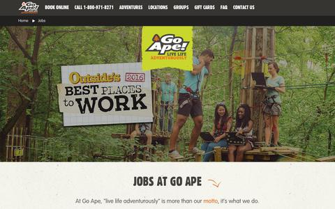 Screenshot of Jobs Page goape.com - Jobs - captured July 21, 2018