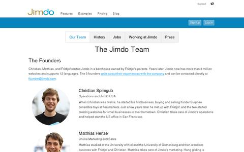 Screenshot of Team Page jimdo.com - Our Team - Jimdo - captured July 20, 2014
