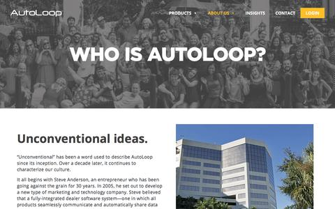 Screenshot of About Page autoloop.com - About Us - AutoLoop - captured Oct. 11, 2017