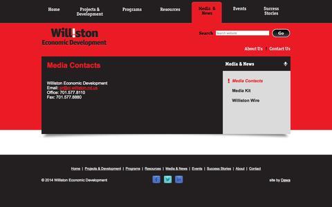 Screenshot of Press Page willistondevelopment.com - Media Contacts - captured Nov. 5, 2014