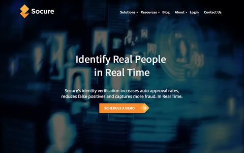 Screenshot of Home Page socure.com - Identity Verification Services | Socure - captured Sept. 10, 2019
