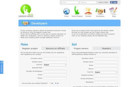 Screenshot of Developers Page greenhero.com - Developers - captured Sept. 30, 2014