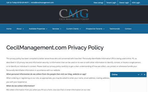 Screenshot of Privacy Page cecilmanagement.com - Privacy Policy   Cecil Management Group - captured Sept. 27, 2018