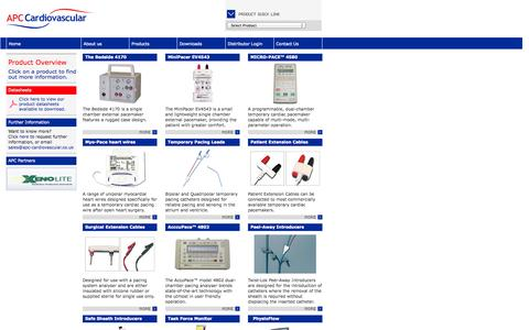 Screenshot of Products Page apccardiovascular.co.uk - APC Cardiovascular Ltd - Product Overview - captured Oct. 4, 2014