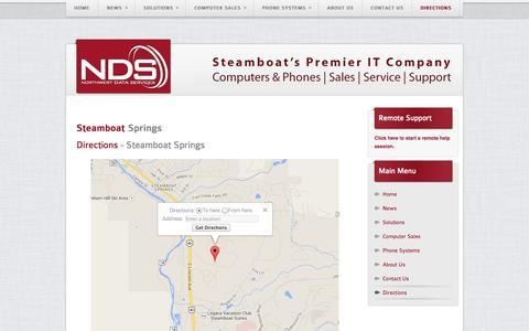 Screenshot of Maps & Directions Page northwestdata.com - Northwest Data Services - Steamboat Springs Premier Computer & Phone Sales | Support | Service - Directions - captured Oct. 9, 2014