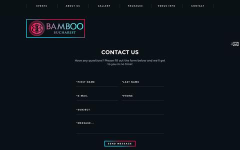 Screenshot of Contact Page bambooclub.ro - Bamboo Club Bucharest Romania - The best club in Bucharest - captured Jan. 31, 2017
