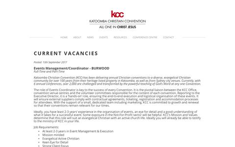Screenshot of Jobs Page kcc.org.au - Work With Us - Katoomba Christian Convention - captured Oct. 17, 2017