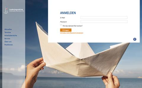 Screenshot of Login Page ljrsh.de - Anmelden - Landesjugendring Schleswig-Holstein - captured June 7, 2018