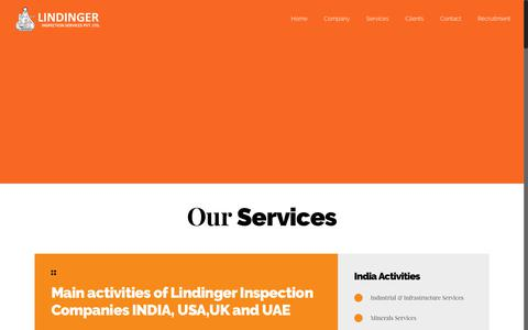 Screenshot of Services Page lindingerinspection.com - Services – Lindinger Inspection Sevices Pvt. Ltd. - captured Aug. 15, 2017