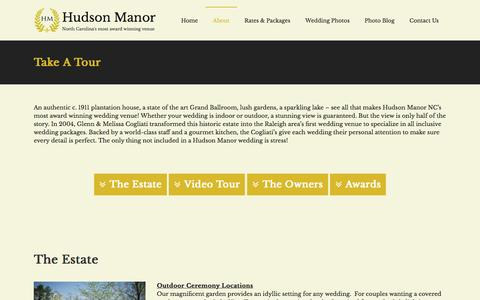 Screenshot of About Page thehudsonmanor.com - Virtual Tour of The Hudson Manor NC Wedding Venue - captured June 20, 2016