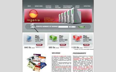 Screenshot of Home Page ingenialtda.com - Hospedaje paginas web|Hospedaje sitios web|Hospedaje - captured April 17, 2018
