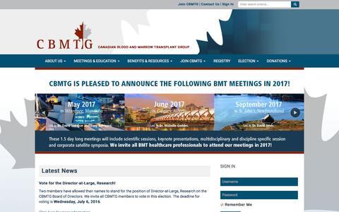 Screenshot of Home Page cbmtg.org - CBMTG - captured June 11, 2016
