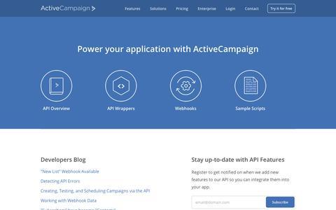 Screenshot of Developers Page activecampaign.com - Email Marketing API - captured Sept. 9, 2017