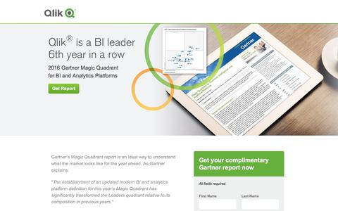 Screenshot of Landing Page qlik.com - 2016 Gartner Magic Quadrant Report | Qlik - captured May 24, 2016