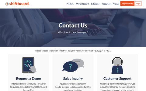 Screenshot of Contact Page shiftboard.com - Contact Us | Shiftboard - captured Feb. 6, 2019
