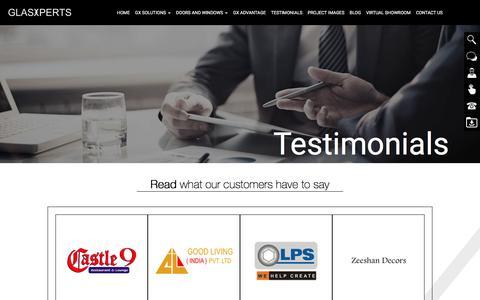 Screenshot of Testimonials Page glasxperts.com - Testimonials - GlasXperts - captured Oct. 20, 2016