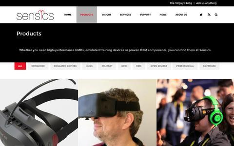 Screenshot of Products Page sensics.com - Sensics   –  Products - captured July 4, 2016