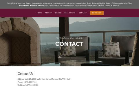 Screenshot of Contact Page spiritridge.ca - Contact — The Residences at Spirit Ridge - captured Feb. 15, 2016