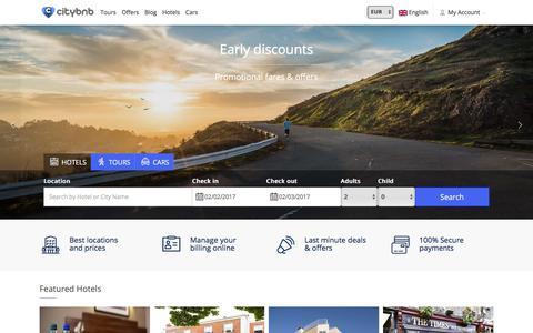 Screenshot of Home Page citybnb.com - Citybnb | Booking Engine - captured Feb. 1, 2017