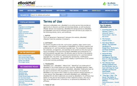 Screenshot of Terms Page ebookmall.com - Terms of Use - eBookMall - captured June 25, 2017