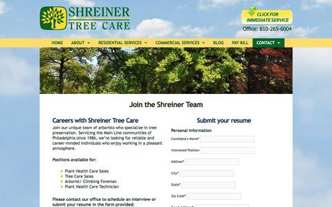Screenshot of Jobs Page shreinertreecare.com - Join the Shreiner Team - - captured Dec. 12, 2016