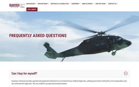 Screenshot of FAQ Page quanticotactical.com - FAQ | Quantico Tactical - captured Oct. 31, 2018