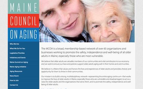 Screenshot of Home Page mainecouncilonaging.org - Maine Council on Aging  Aging the Way it Should Be! - captured Sept. 16, 2015
