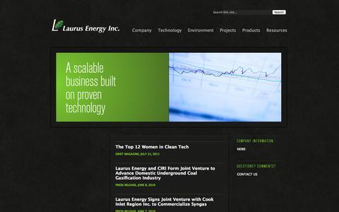 Screenshot of Press Page laurusenergy.com - News «  Laurus Energy - captured Sept. 16, 2014