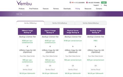 Screenshot of Pricing Page vembu.com - Buy Vembu Products | Vembu - captured Jan. 18, 2016