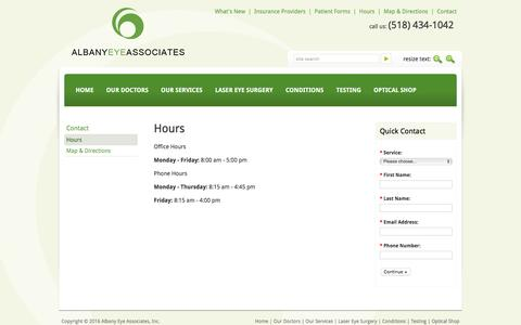 Screenshot of Hours Page aea-ny.com - Contact - Albany Eye Associates - Hours - captured Nov. 20, 2016