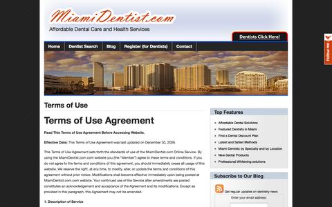 Screenshot of Terms Page miamidentist.com - MiamiDentist.com: Dentist Miami | Affordable Miami Dental Care and Health Services   » Terms of Use - captured Oct. 27, 2014