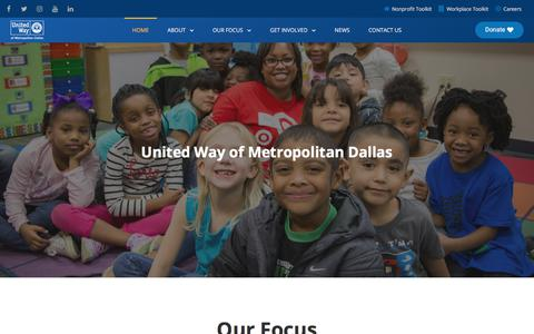 Screenshot of Home Page unitedwaydallas.org - United Way of Metropolitan Dallas | United Way of Metropolitan Dallas - captured Aug. 16, 2018