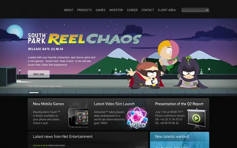Screenshot of Home Page netent.com - Net Entertainment | Better Games - captured Sept. 19, 2014