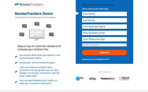 Screenshot of Landing Page reviewtrackers.com - Get your ReviewTrackers Demo today! - captured Oct. 22, 2015