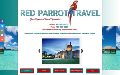 Screenshot of Home Page redparrottravel.com - Red Parrot Travel - Destination Weddings And Honeymoons, Romance Travel, Destination Wedding Packages - captured Nov. 29, 2016