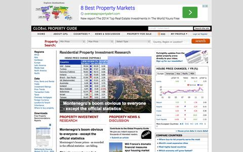 Screenshot of Home Page globalpropertyguide.com - Global Property Guide - captured Sept. 18, 2014