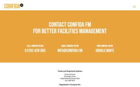 Screenshot of Contact Page confida.fm - Contact Confida FM for Better Facilities Management - captured Oct. 1, 2018
