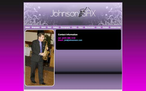 Screenshot of Contact Page johnsonsax.com - J o h n s o n  S a x - Contact - captured April 9, 2017