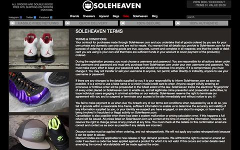 Screenshot of Terms Page soleheaven.com - Soleheaven and Your Privacy - captured Sept. 22, 2014