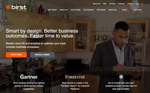Screenshot of Home Page birst.com - Business Intelligence & Analytics, BI Software - Birst - captured July 21, 2018