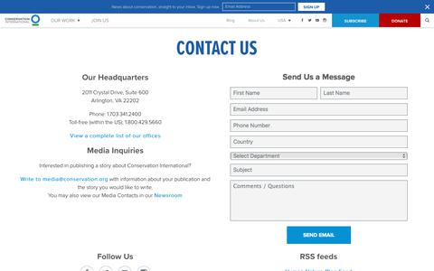 Screenshot of Contact Page conservation.org - Contact Us - captured July 16, 2019