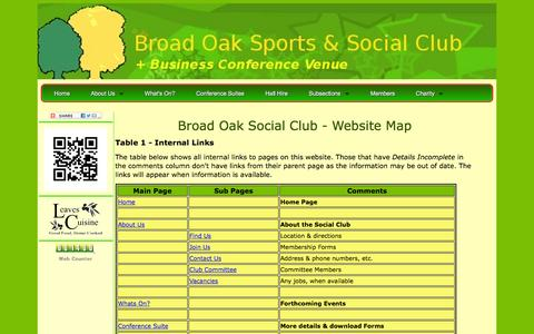 Screenshot of Site Map Page broadoaksocialclub.net - Broad Oak Sports & Social Club - Site Map - captured Oct. 5, 2014