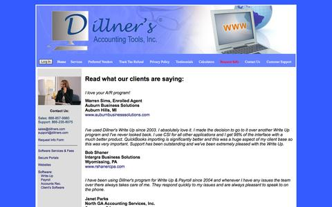 Screenshot of Testimonials Page dillners.com - Write-Up, Payroll, Accounts Receivable Software, Websites for Accountants|Testimonials - captured Oct. 5, 2014