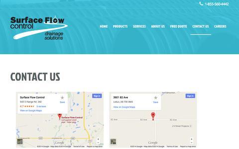 Screenshot of Contact Page surfaceflowcontrol.com - Contact Us  |  SurfaceFlowControl - captured Oct. 29, 2014