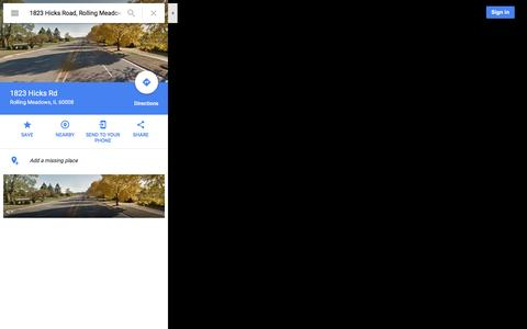 Screenshot of Maps & Directions Page google.com - 1823 Hicks Rd - Google Maps - captured Nov. 27, 2016