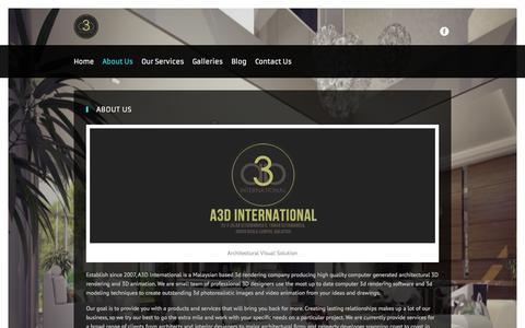 Screenshot of About Page a3d.com.my - About Us | A3D International - captured Oct. 4, 2014